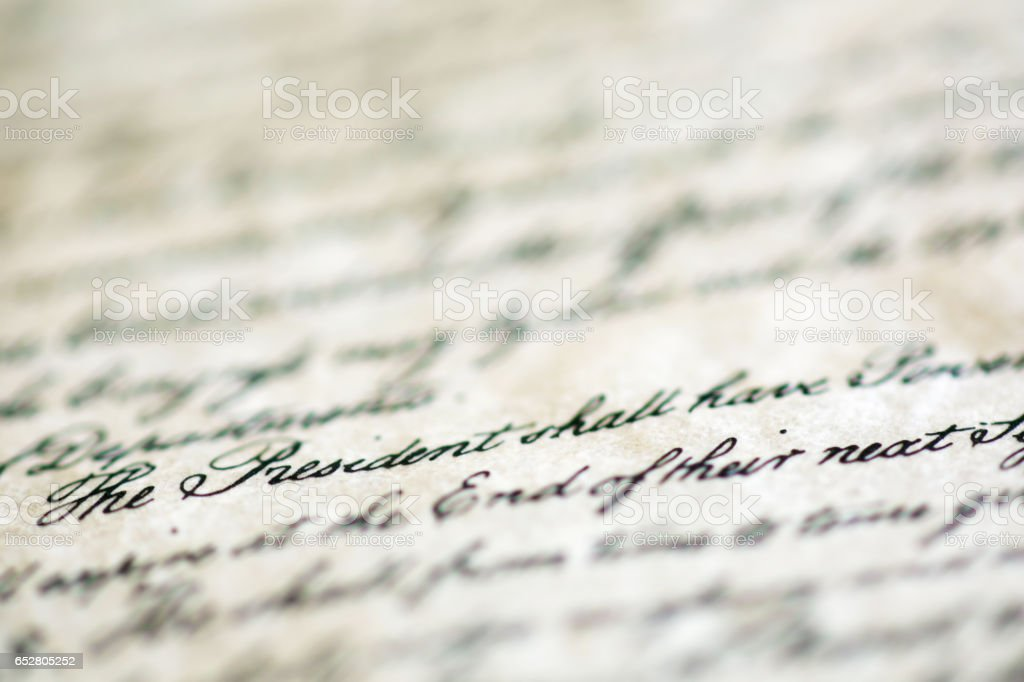 Words The President highlighted from United States Constitution stock photo