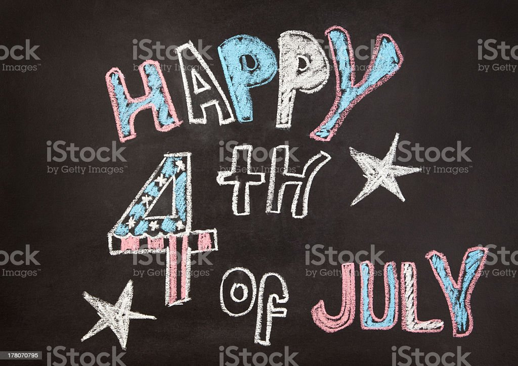 words written on the chalkboard for July 4 independence  day royalty-free stock photo