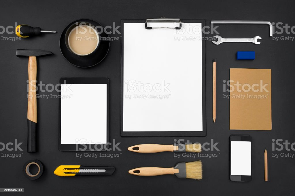 Work and Business Tools on Black Background stock photo