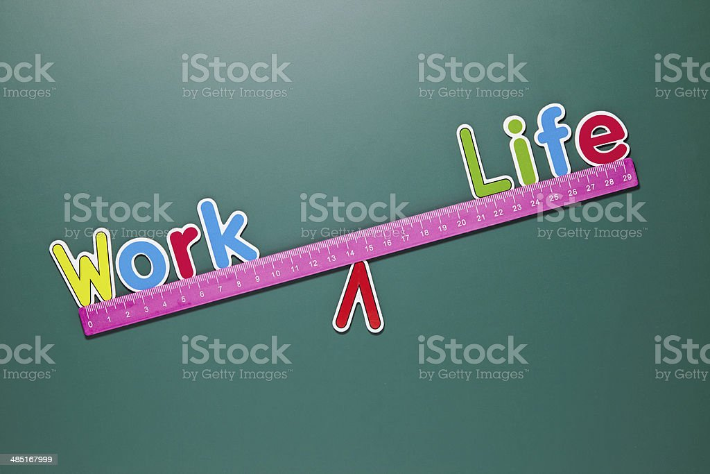Work and life balance concept with words and drawing royalty-free stock photo