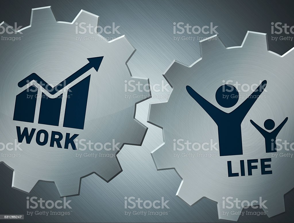 work and life gears stock photo