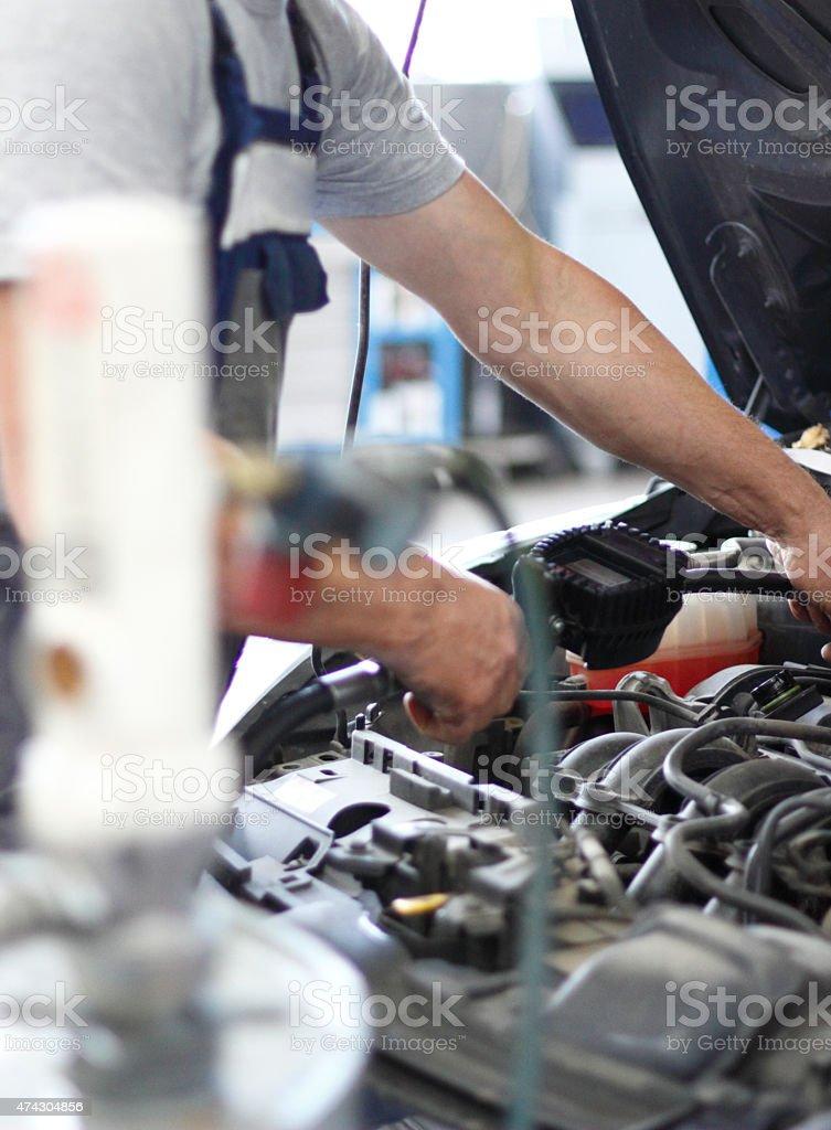 Work at cars garage stock photo