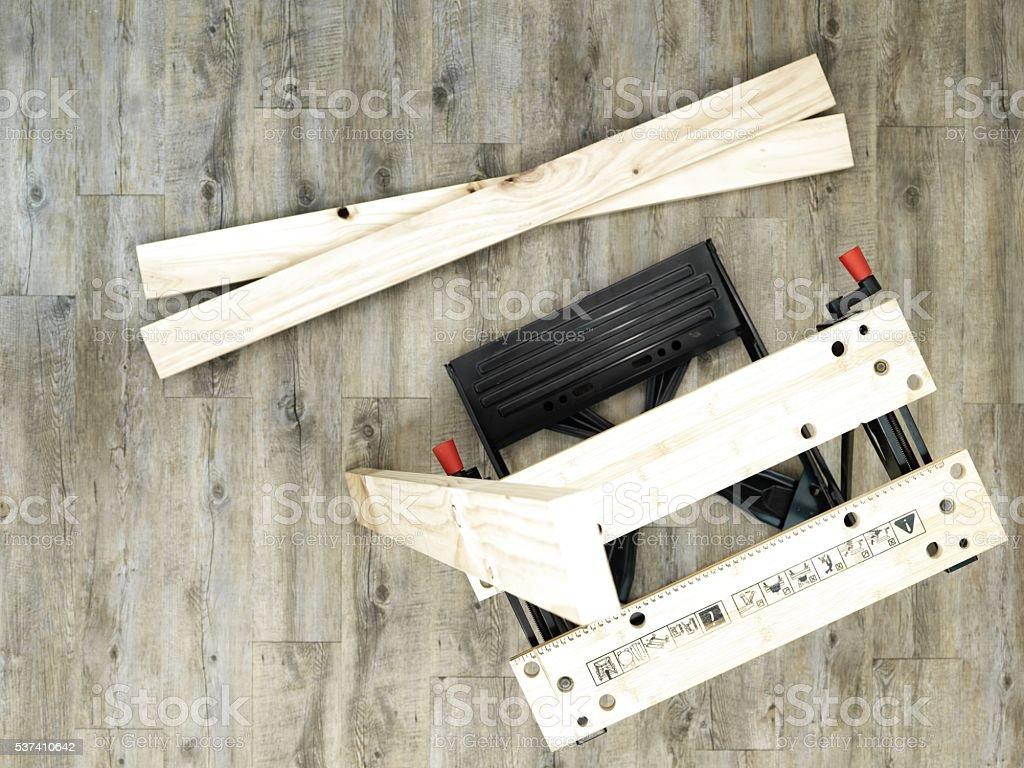 Work Bench Sawhorse stock photo
