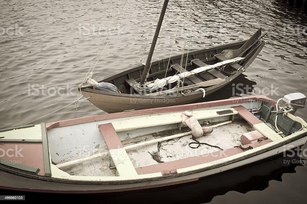 Work boats on Lunenburg Harbour, Nova Scotia, Canada. royalty-free stock photo