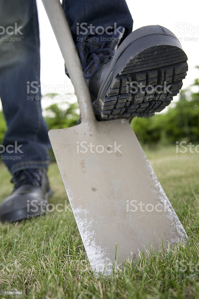 Work boots with steel toe. stock photo