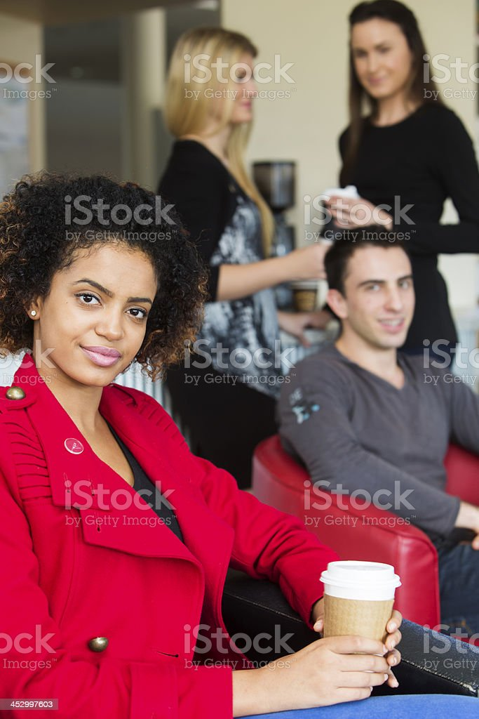 Work Colleagues in a Cafe stock photo