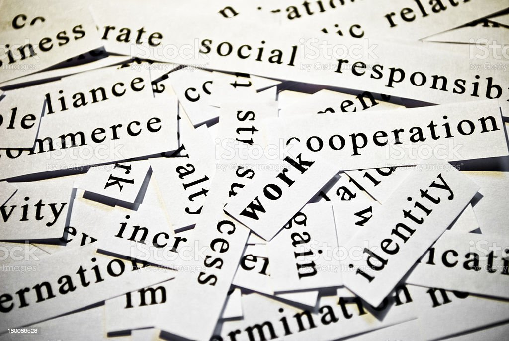 Work. Concept of cutout words related with business. royalty-free stock photo