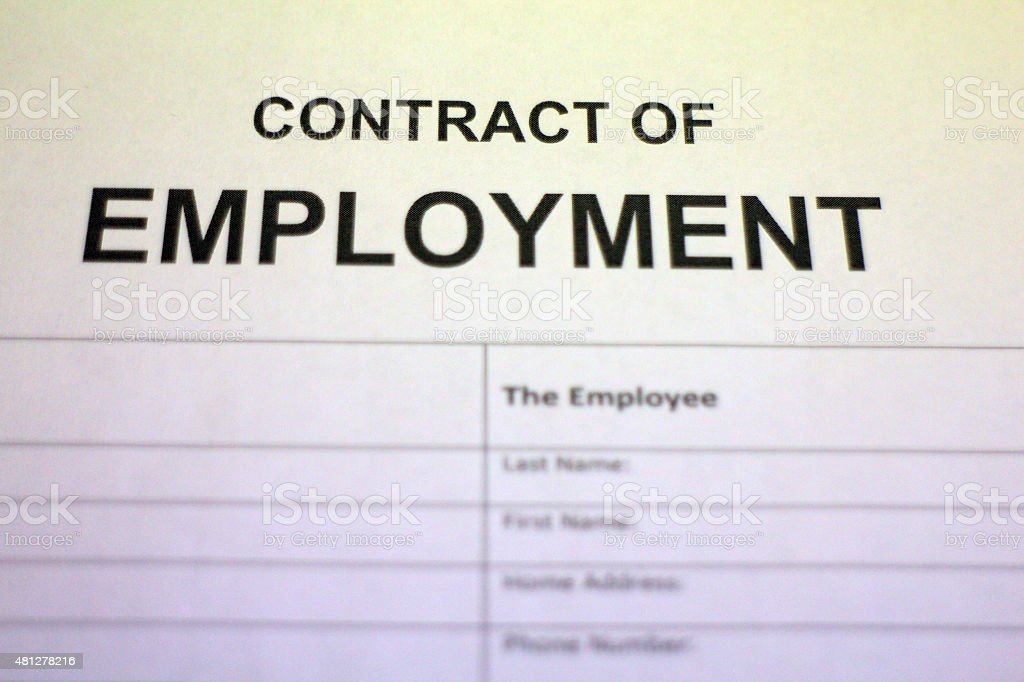Work Contract Document stock photo