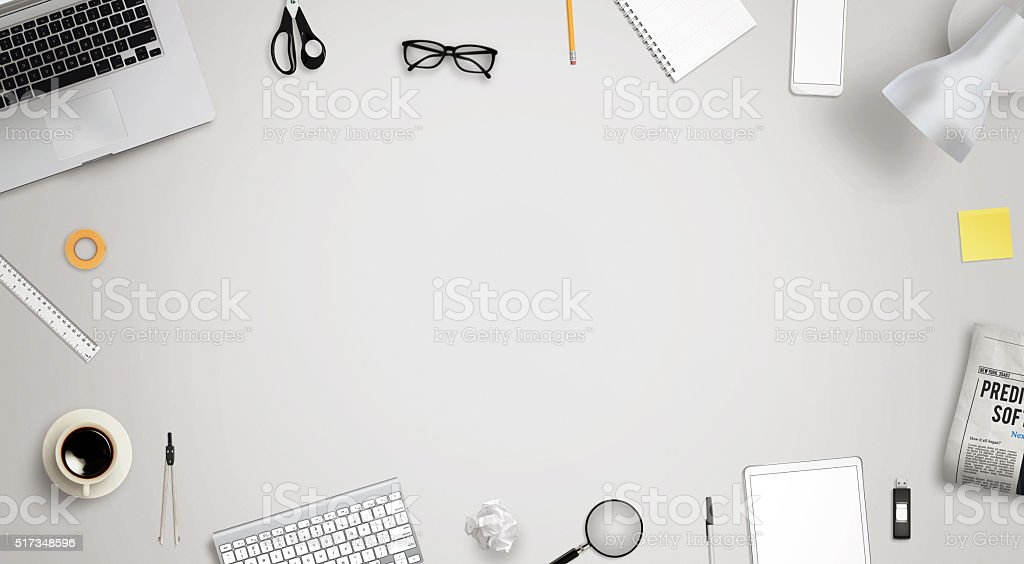 Work desk with free space for text surrounded with stock photo