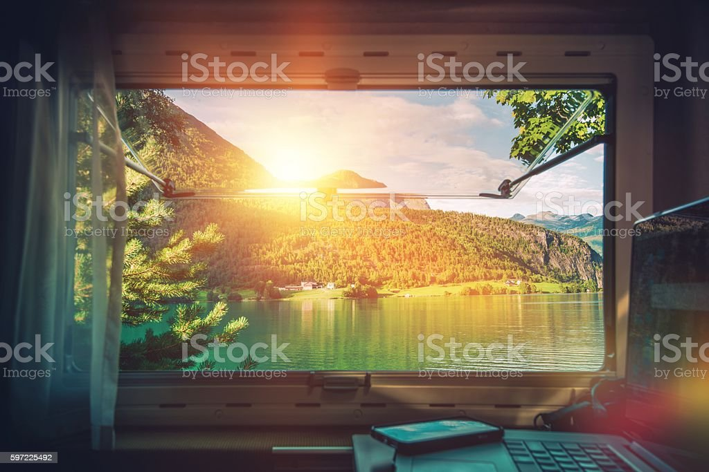 Work Desk with Scenic View stock photo