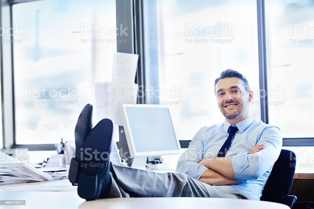 Work doesn't get any better than this! stock photo