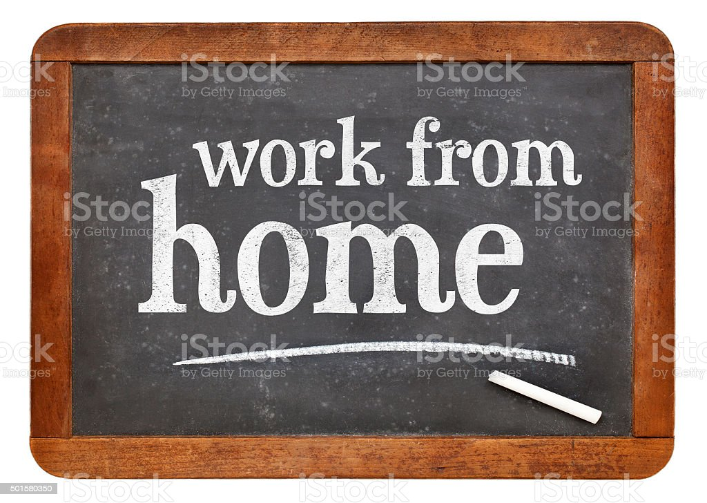 Work from home advice on blackboard stock photo