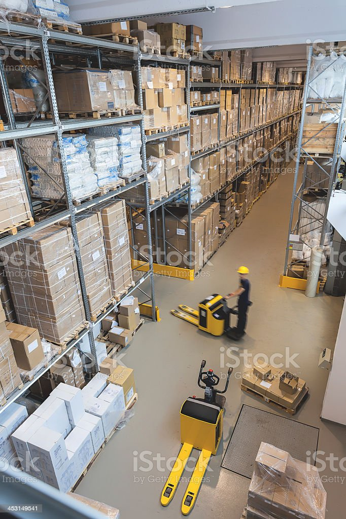 Work in a warehouse royalty-free stock photo