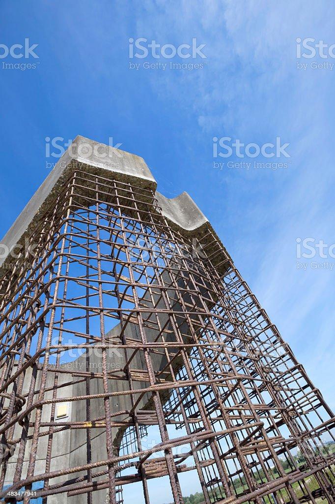Work in progress: steel and concrete skeleton building, concept stock photo