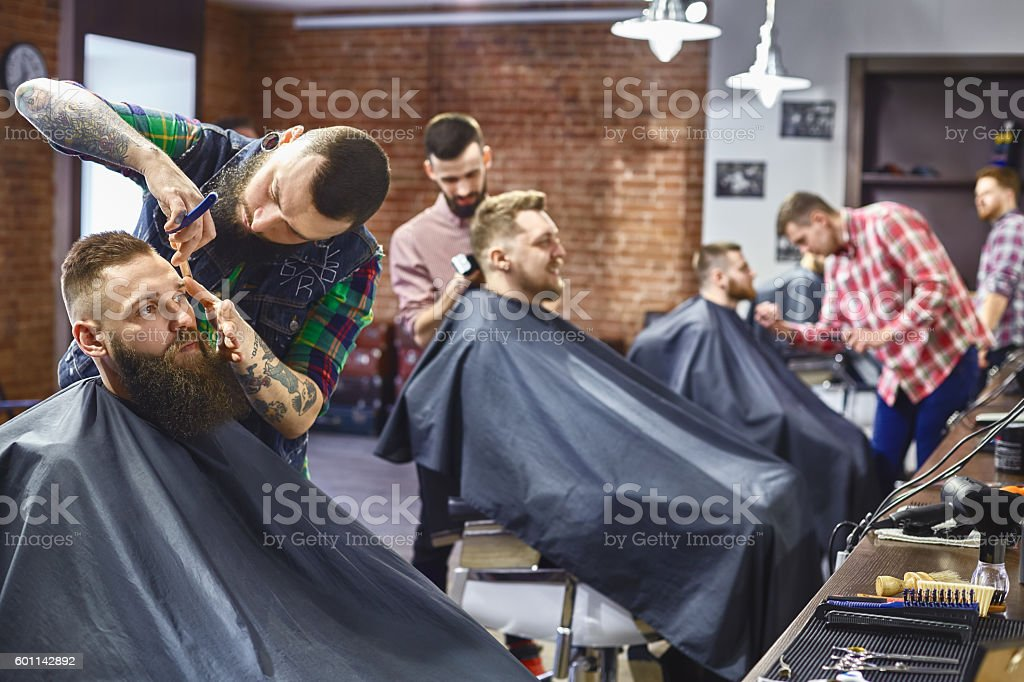 Work in the Barber shop. stock photo