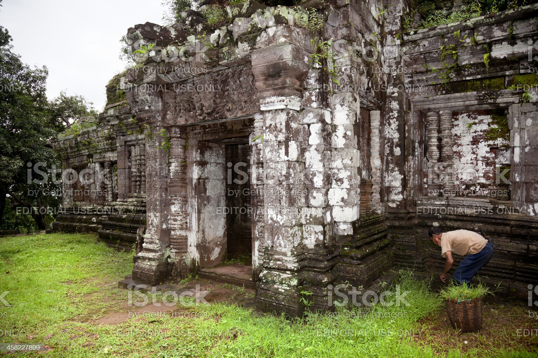 work in the ruin of Champasak royalty-free stock photo