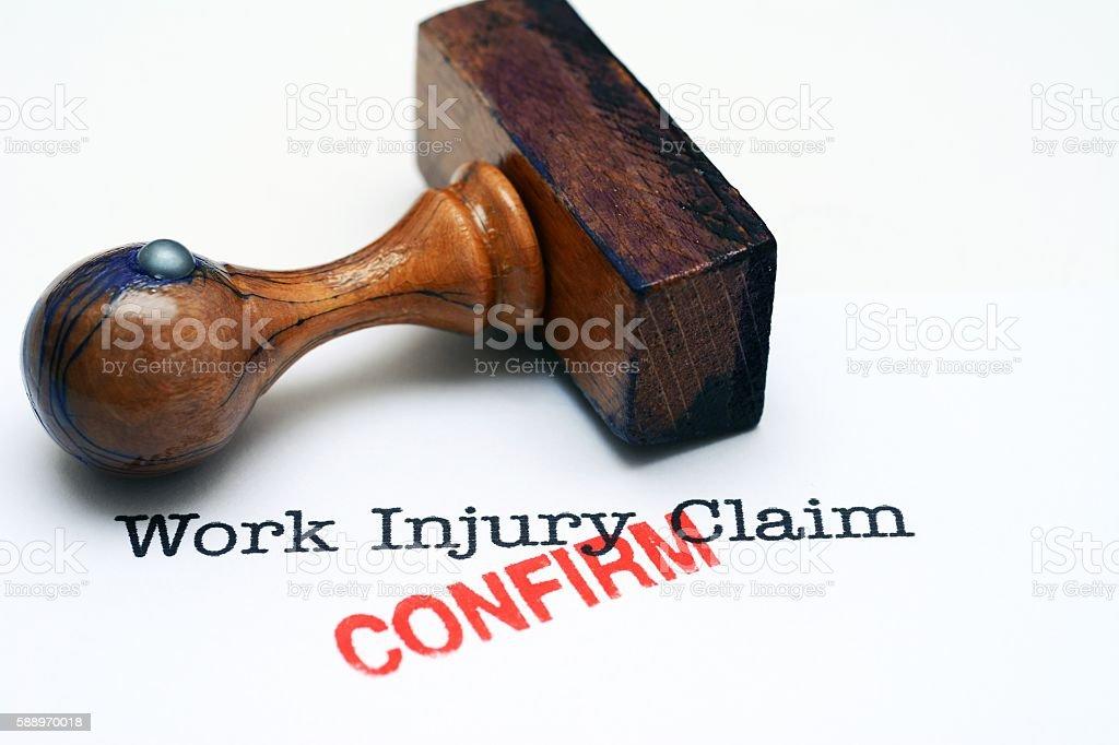 Work injury claim - confirm stock photo