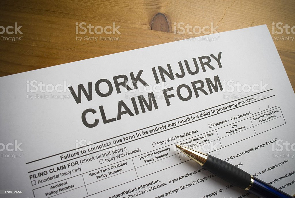 Work Injury claim form. royalty-free stock photo