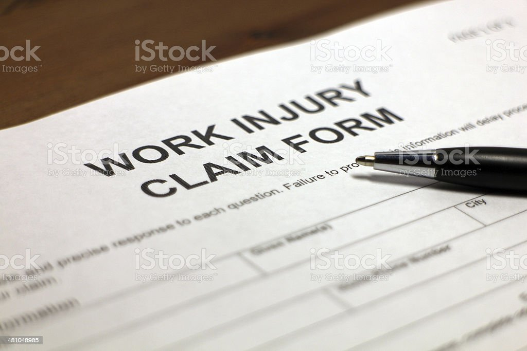 Work Injury Claim Form stock photo