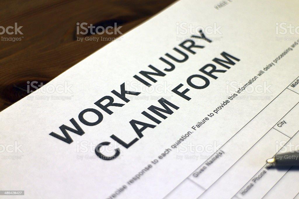 Work Injury Claim Form stock photo