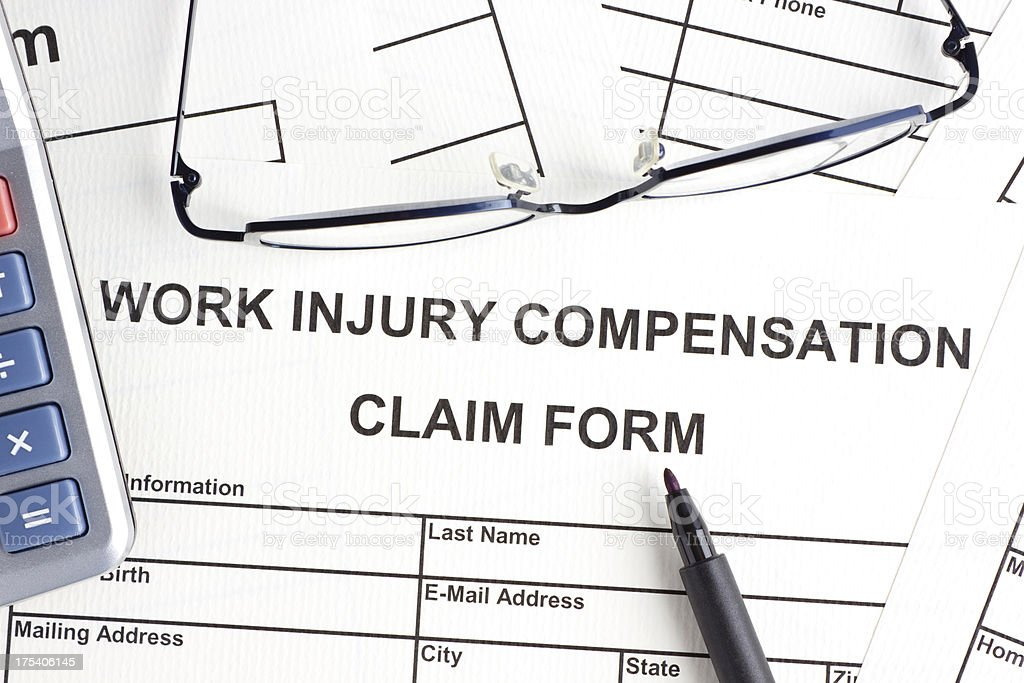Work injury compensation claim form royalty-free stock photo