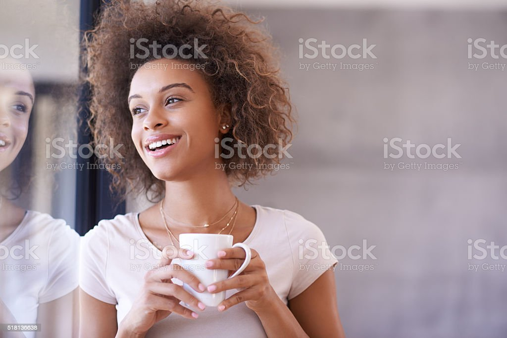 Work is good, and now for a coffee break stock photo