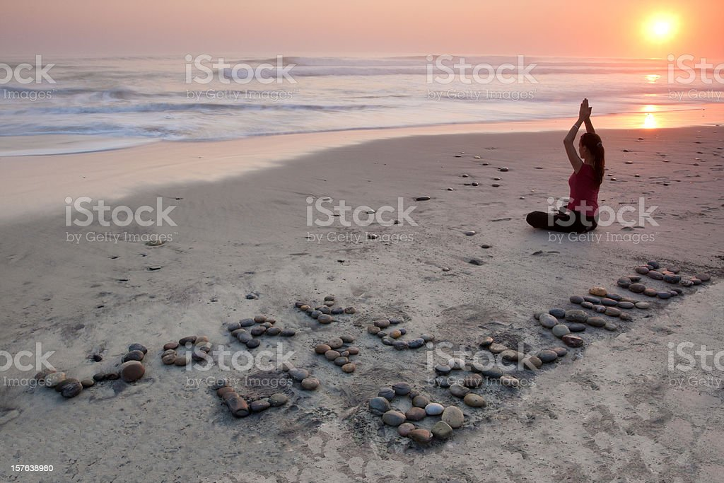 Work Life Balance in a Yoga pose stock photo
