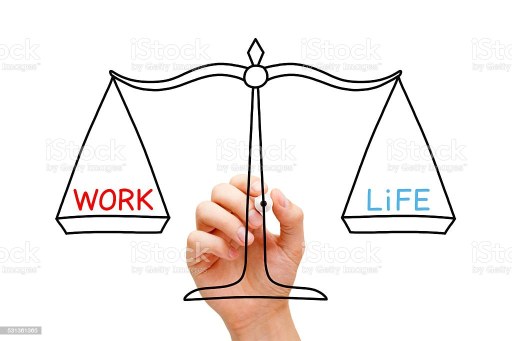 Work Life Balance Scale Concept stock photo