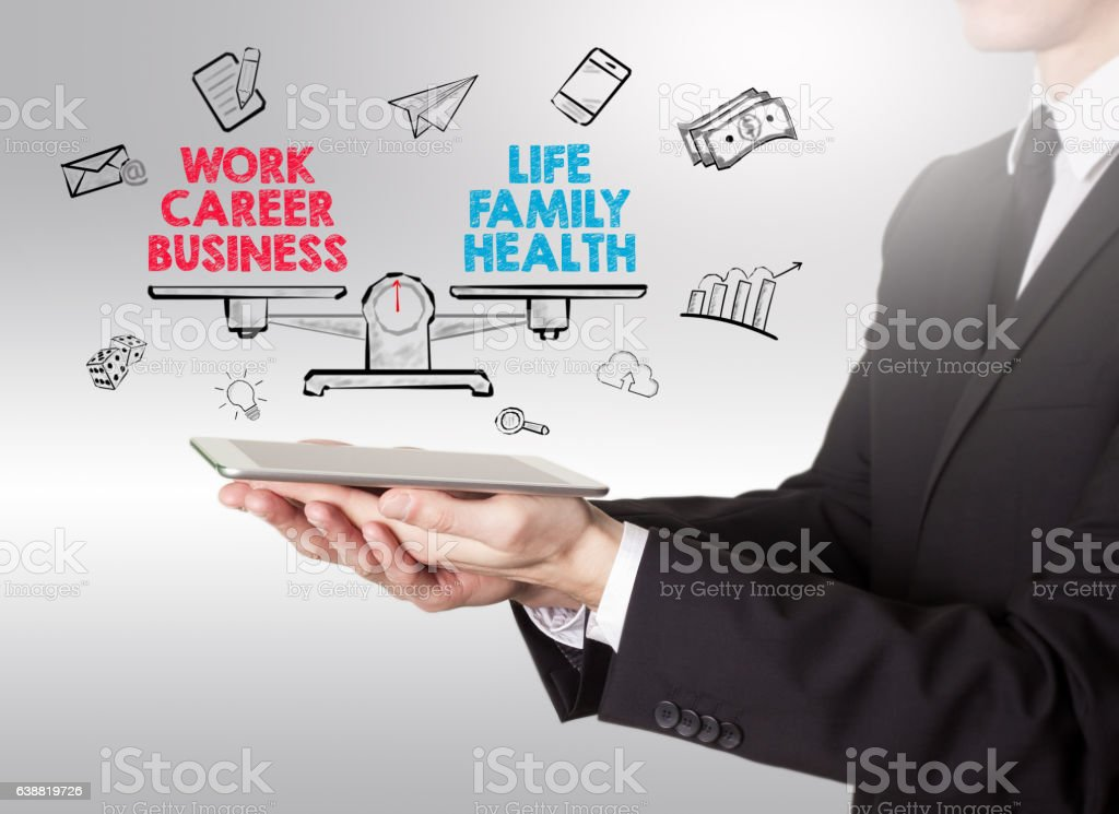 Work Life Balance, young man holding a tablet computer vector art illustration