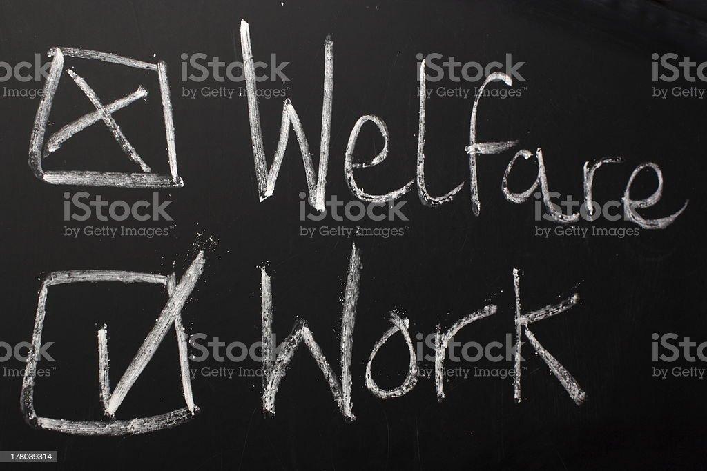 Work not Welfare stock photo