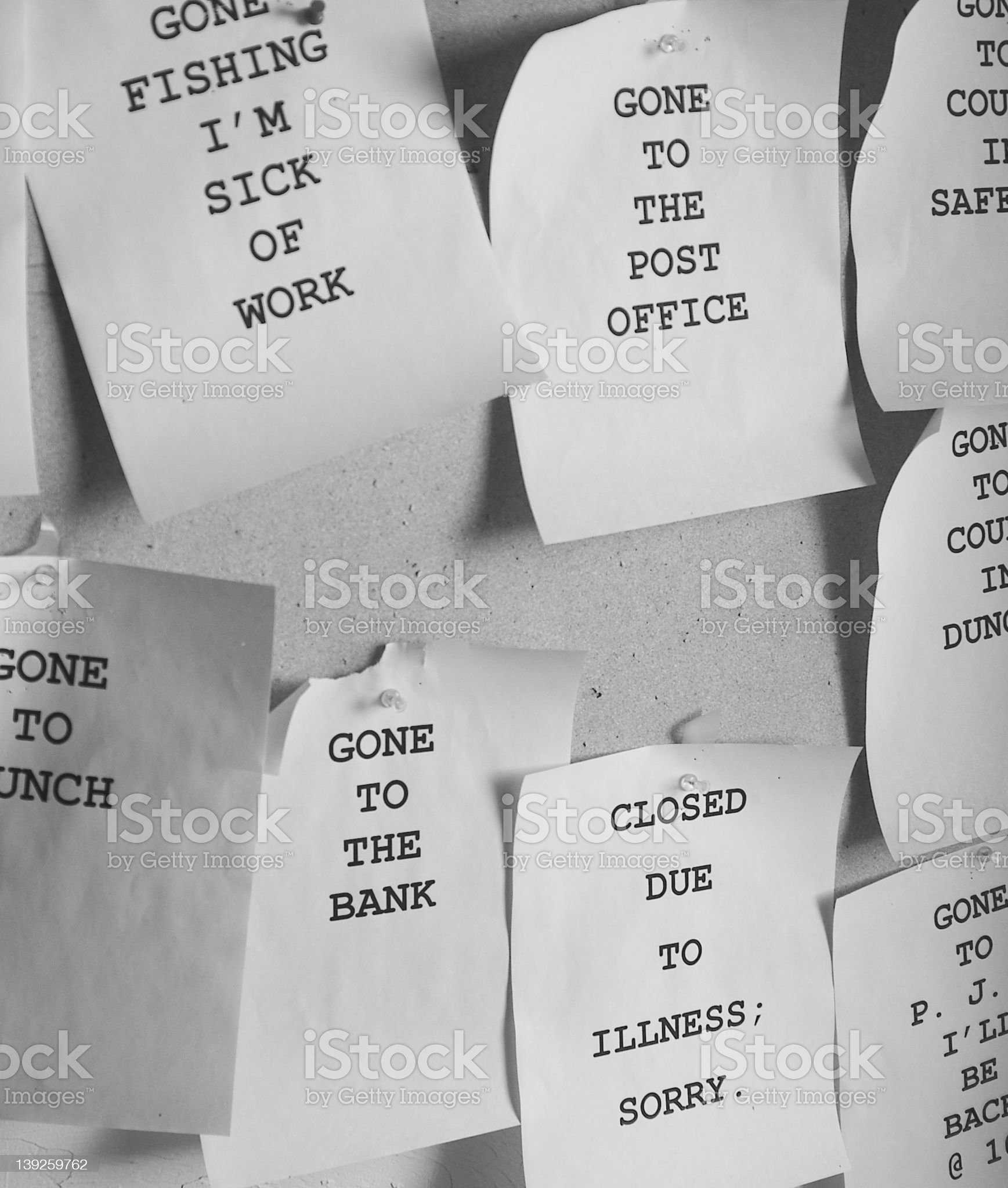 Work notes on bulletin board royalty-free stock photo