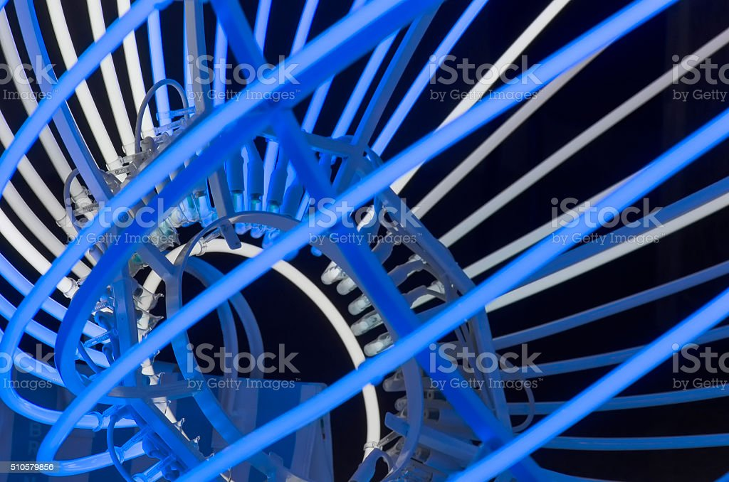 Work of art composed of light pipes stock photo