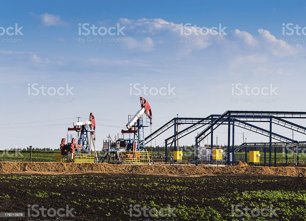 Work of oil pump jack royalty-free stock photo