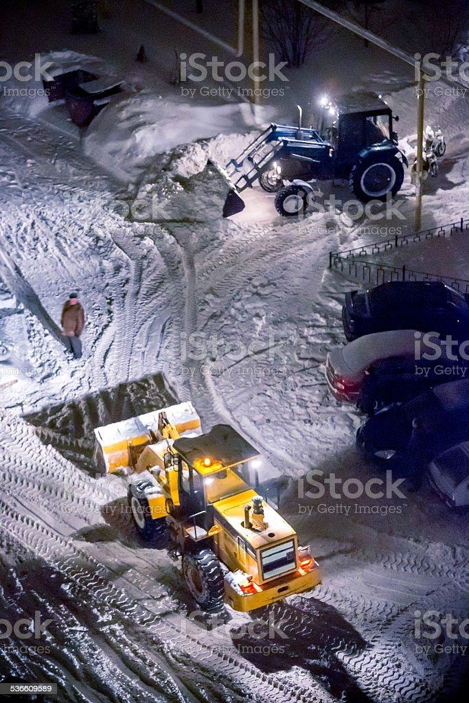 Work of snowplows stock photo