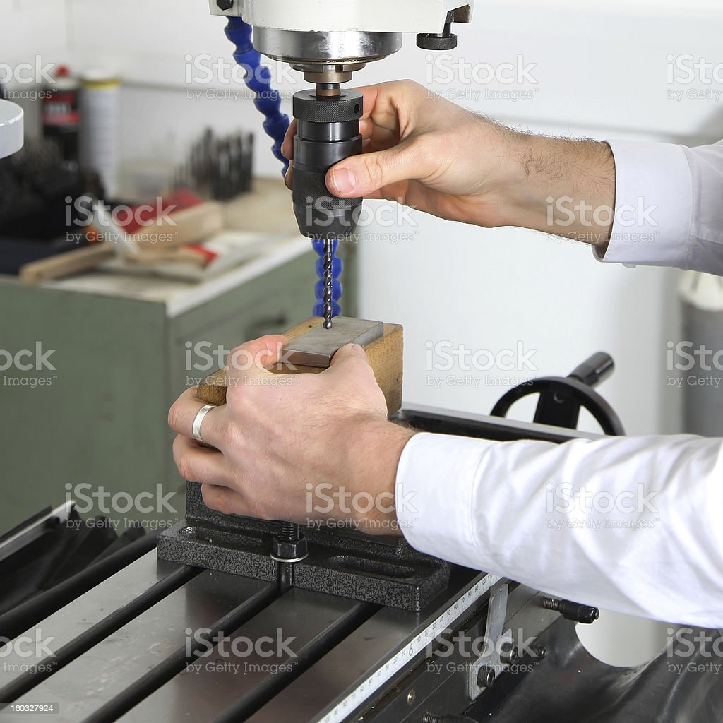 work on a milling machine royalty-free stock photo