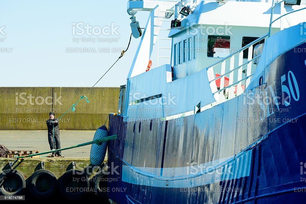 Work on fishing boat stock photo