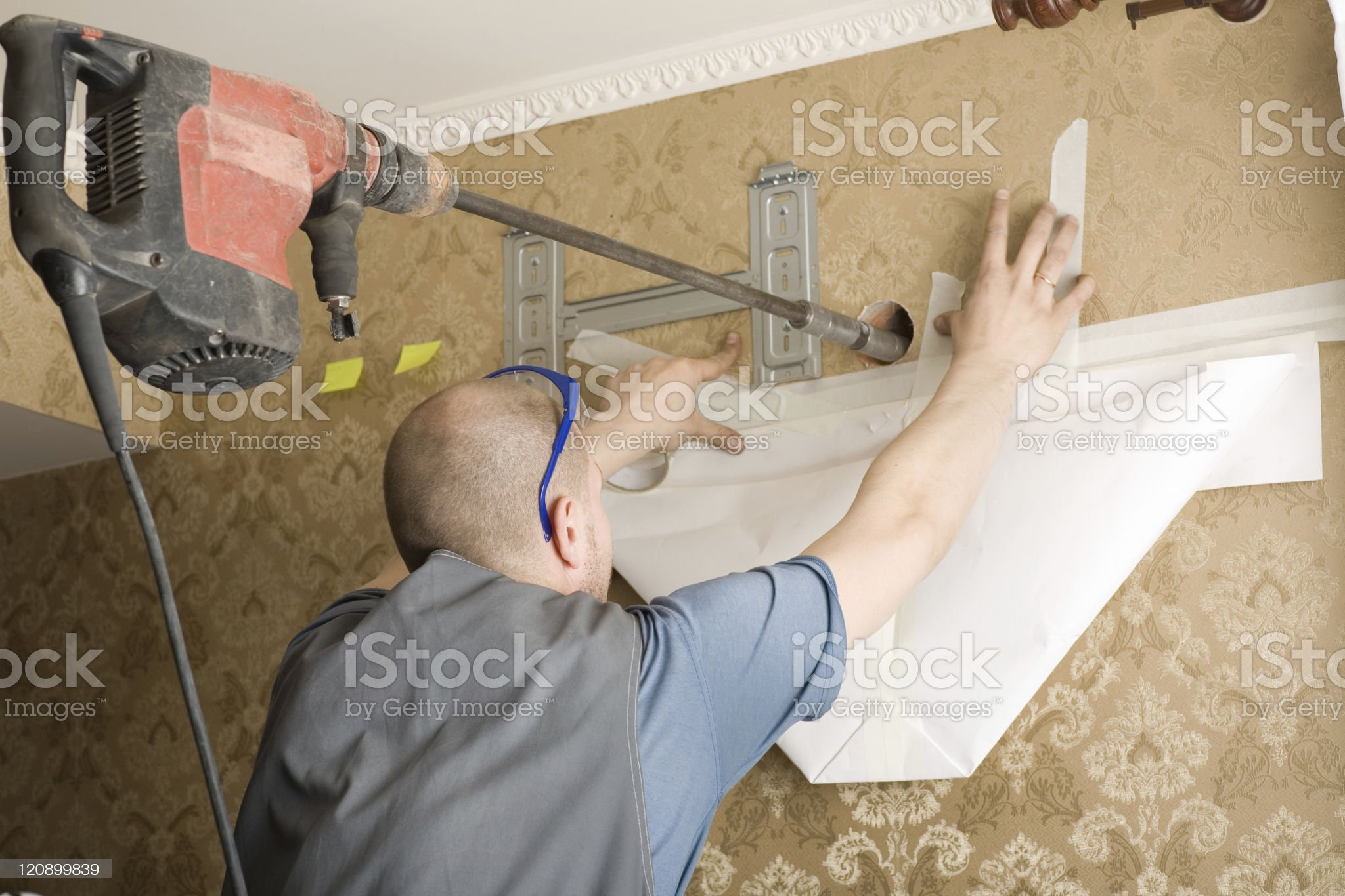 Work on installing a new air conditioner royalty-free stock photo