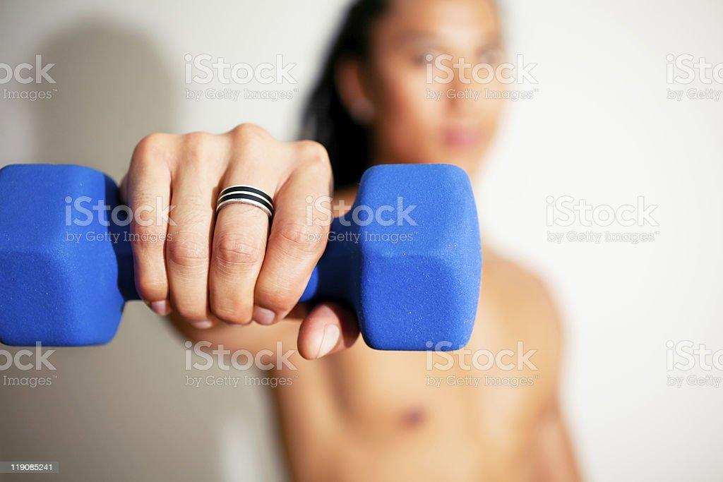 Work out with Dumbbell stock photo