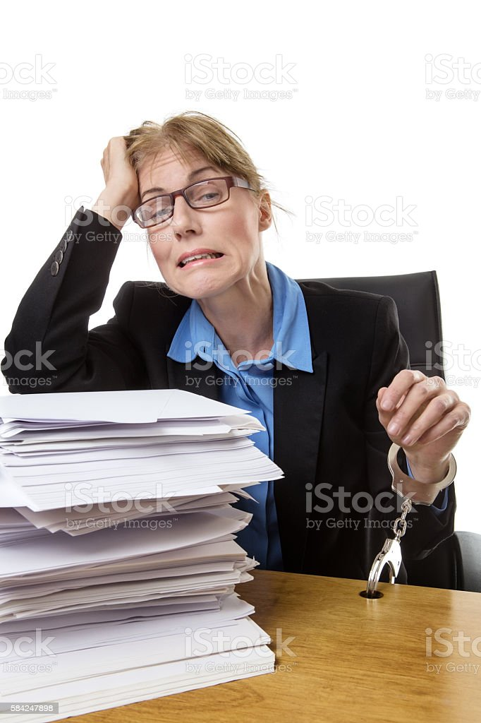 work overload at desk stock photo