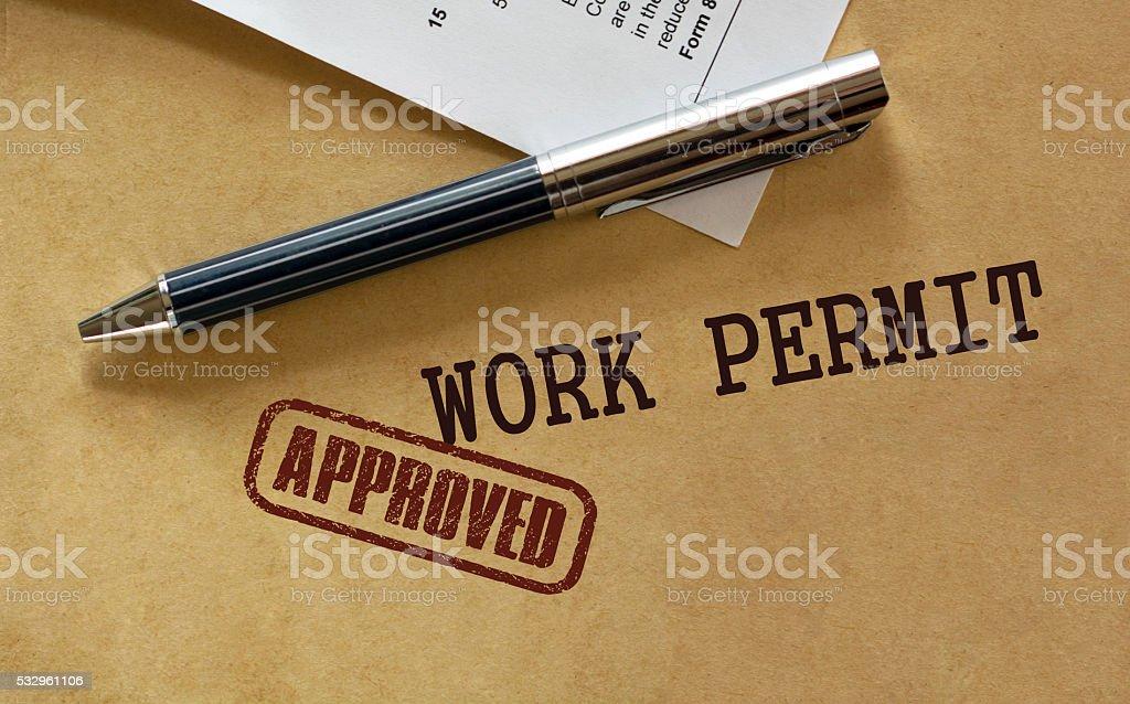 Work permit stock photo