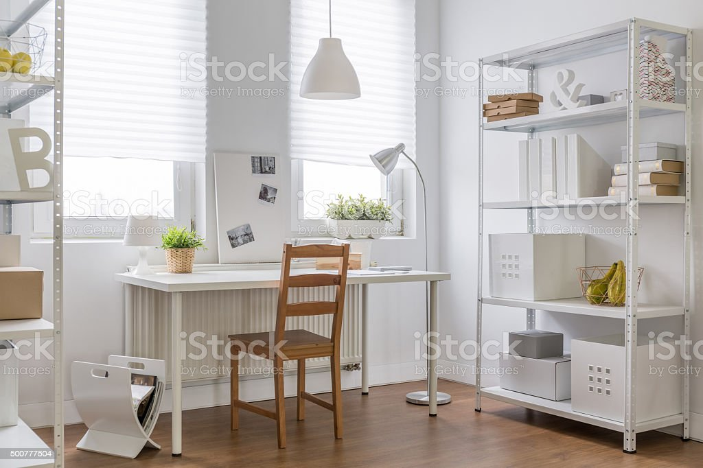 Work place in new apartment stock photo