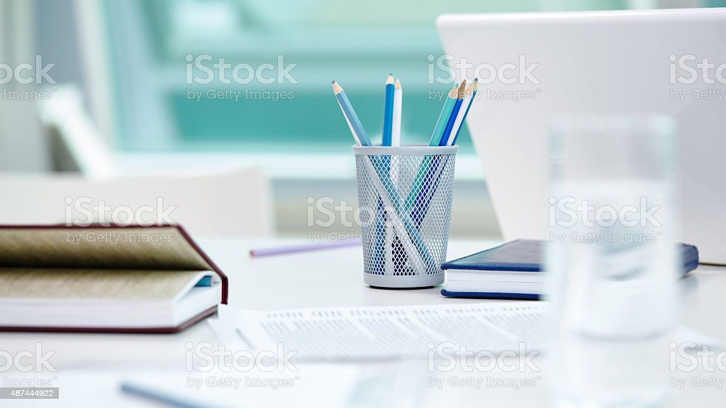 Work place of creative boss stock photo