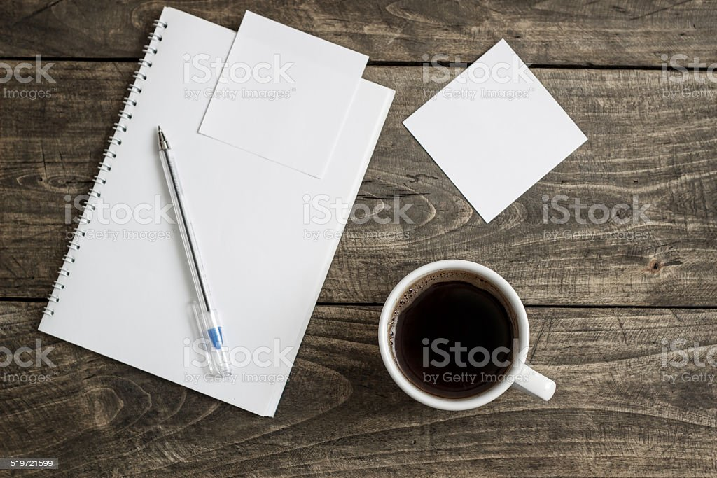 work place on wooden table stock photo