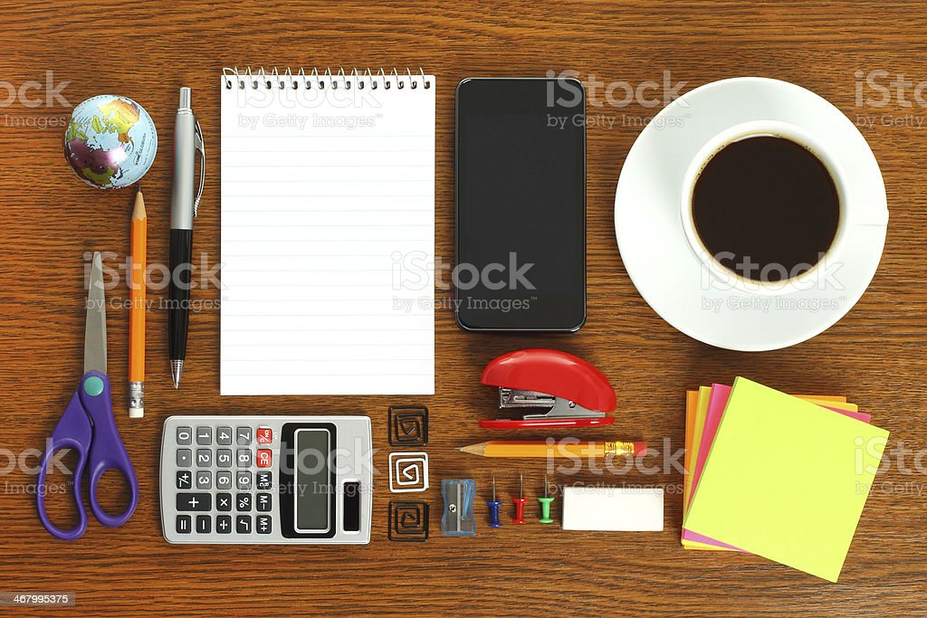 Work place with office stationery stock photo