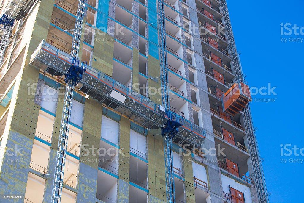 Work Platform and Construction lift stock photo
