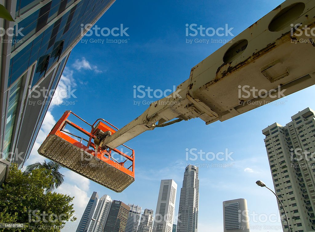 Work Platform on Boom in the City royalty-free stock photo