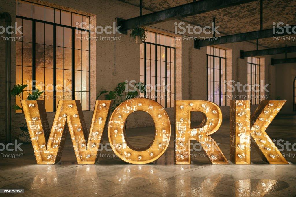 Work Sign stock photo
