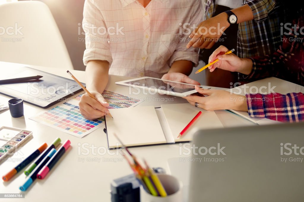 work space and designer working concept. stock photo