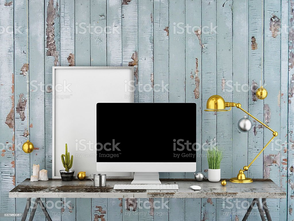 Work space mock up, 3d illustration stock photo