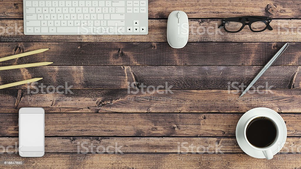 Work table knolling view concept stock photo